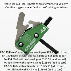 VELOCITY TRIGGER VELO10 AR-15 DROP-IN 4LB FLAT - Plus choice of free accessory All Products